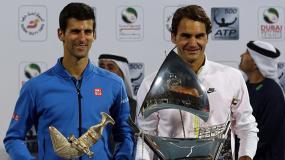 Galeri Kemenangan Federer Atas Djokovic di Final Dubai Terbuka